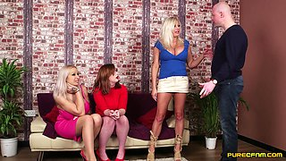 Clothed babes undress one man to give him amazing blowjobs