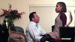 Ebony intern Skin Diamond seduces her white boss Steven St Croix