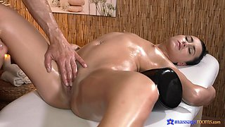 Smooth sex on the massage table with hot ass brunette Anne Rose