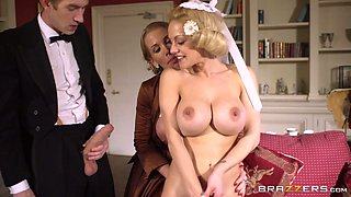 Young rich boy had hard threesome with two buxom mommies
