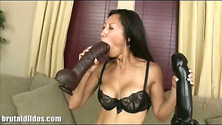 Tia loves fucking monster brutal dildos