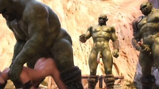 3D Elf Girl Cum Covered by Orcs!
