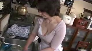 Japanese granny gets nailed and creampied well