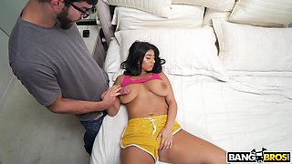 Amazing fucking on the bed with busty room-mate Violet Myers