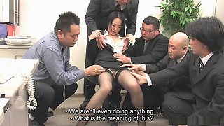 Ai Mizushima gets fed with multiple cocks and cum