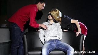 Blindfolded fucking hot threesome