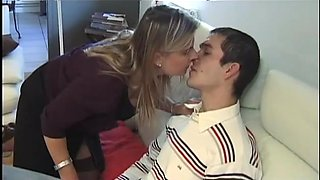 Naughty French MILF luring a hot younger guy for sex