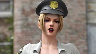 Police Officer Rachel Gives Blowjob (Animation With Sound)