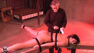 Jade Thomas is tied in the basement waiting for hard sex experience