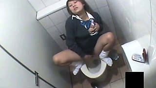 Horny Girl Uniform Voyeur Toilet Masturbation