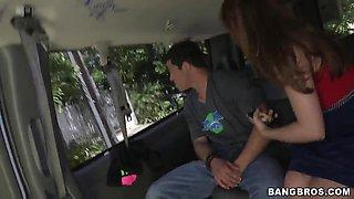 Slutty brunette Aurora Monroe gets naughty in car