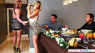 Sex-hungry lesbian Kayla Kayden and her nasty girlfriend are fucked by hot tempered stud