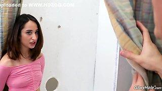 Latin teen brunette, Isabella Nice sucks a big, black cock through a just for fun
