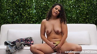 Latin babe with curly hair, Amorina got down and dirty with a handsome, black guy