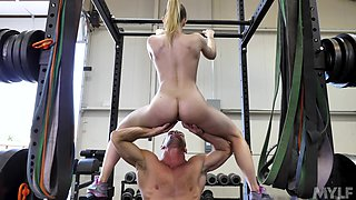 Riley Reyes enjoys hard sex at the gym with her horny trainer
