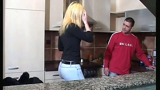 Playful bitch in glasses Anita  gives head in the kitchen