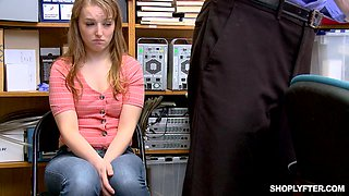 Blonde shy teen amateur Cleo Clementine forced to doggy fuck in office