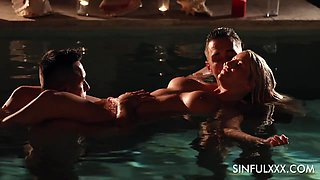 Candle light threesome surprise in the pool for stunning babe Sienna Day