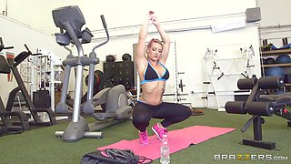 blonde milf makes hot cock in the gym even warmer