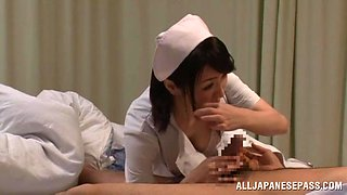 Mesmerizing Asian nurse with big tits moaning as she gets hammered