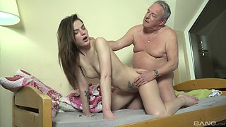 HArdcore fucking on the bed between sexy Nana Garnet and an old dude