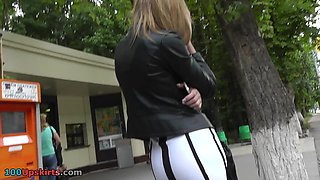 Tight skirt lets enjoy this free upskirt view