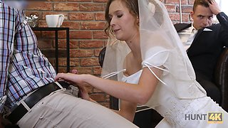 Sexy bride fucks another man for money in front of her fiance