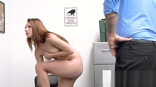 Teen thief is having rough sex on the office table with a hot officer