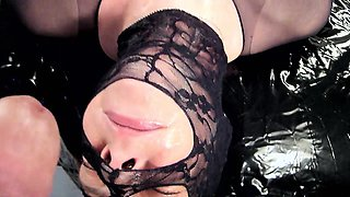 Kinky wife in nylons fucks her wet pussy and strokes a dick