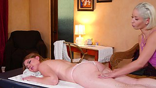 Hot masseuse Goldie Glock is finger fucking and licking pussy of lovely client