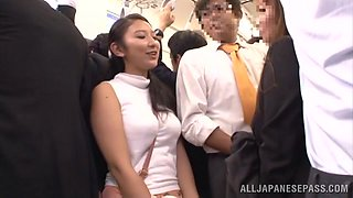 Hot Japanese chick gets fucked between tits on a train