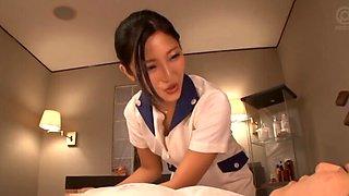 Natural boobs Asian girl Mizuki Miri pleasures his dick while topless