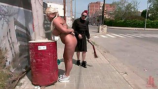 busty milf gets whipped and face fucked in public