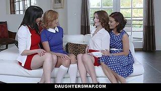 Piper Palmer & Rosalyn Sphinx & Allesandra Snow & Ryder Skye in Sexy Milfs Swap Their Aggressive Teen Slut Daughters - DaughterSwap