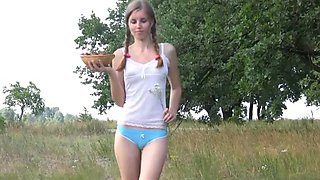 Cute russian girl lydia pleasing herself with strawberries