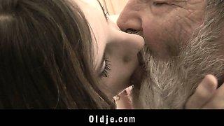 Very old grandpa fucking cute young girl