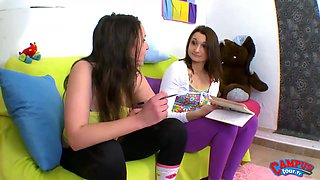 Two teen lesbians kissing and fucking on French porno