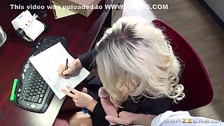 Full-breasted Secretary Julie Pleases Her Boss On The Desk With Julie Cash