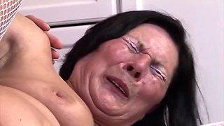 60+ grandma enjoys dildo and young man&#039s cock