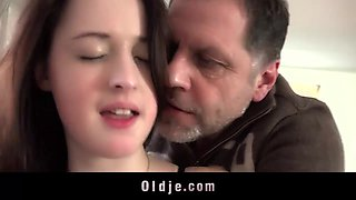 Foxy busty babe seduce and fuck older married man