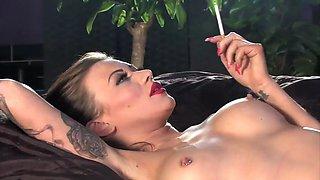 Smoking naked babe