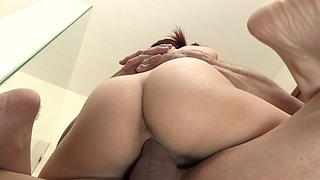 Radiant redhead has sex with her stepdad in the shower