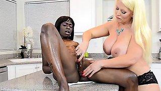 Alura Jenson Dildos Bella Doll In Kitchen Interracial
