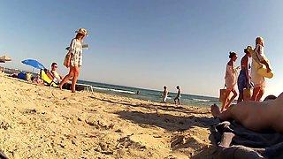 Incredible amateur CFNM, Beach porn clip