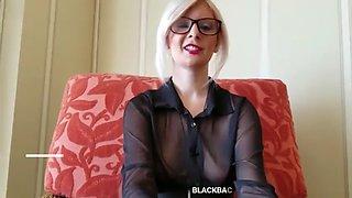 Blonde with glasses sucks black dick