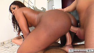 Jasmin's pussy and ass get pounded hard by two guys. They