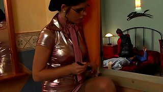 Sexy playgirl dominates her slave in sexy femdom fetish act