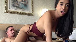 Svelte girl Kiarra Kai spreads legs giving dude a chance to lick her pussy