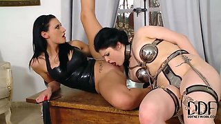 Isla and Lucia Love in lesbian bondage scene