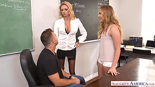 Spicy hot professor talks her student's stepfather into having a threesome